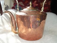 GENUINE LARGE VINTAGE HAMMERED COPPER KETTLE BRASS KNOB RIM & SWIVEL HANDLE